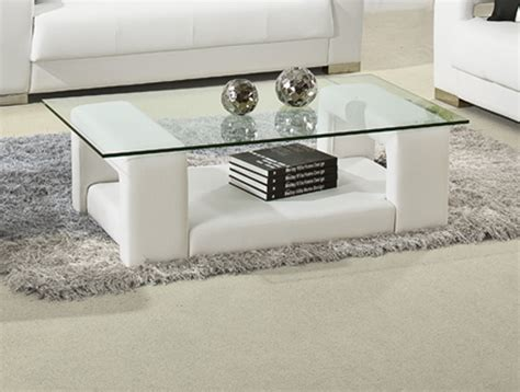 White Contemporary Coffee Table Modrest 2926 Modern White Bonded Leather Coffee Table