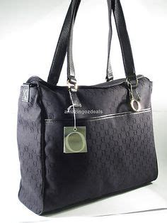 oroton aruba large canvas leather tote shoulder bag brown