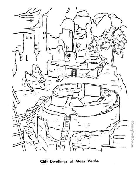 pueblo house coloring page mesa verde coloring page 023