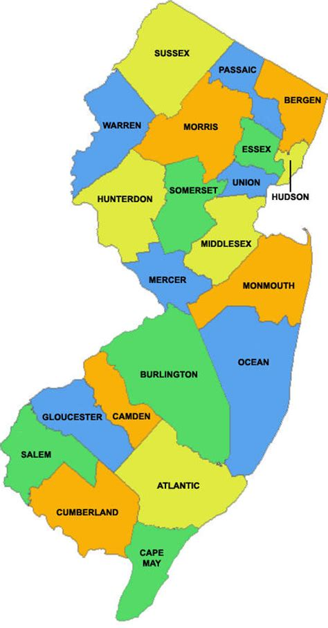 nj counties map maps new jersey county map