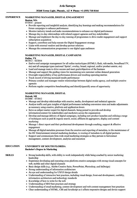 Digital Marketing Manager Resume by Resume Digital Marketing Manager Free Professional