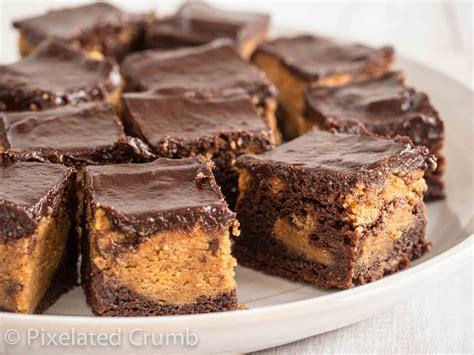 peanut butter peanut butter brownie bites pixelated crumb