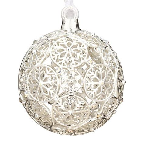 2012 lunt jeweled snowflake ball silver ornament silver