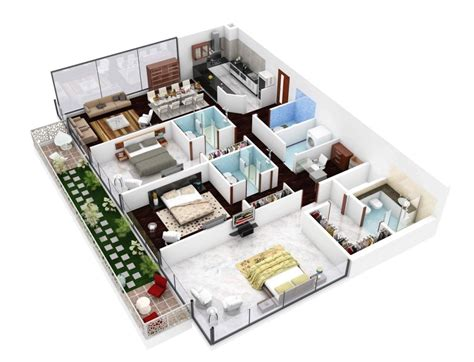 3 bhk floor plan 3d perfect house plans with three badroom architecture