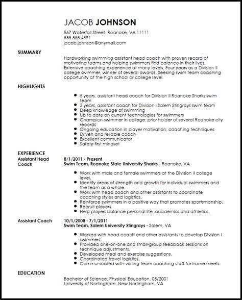 Coaching Resume Template by Free Professional Sports Coach Resume Template Resumenow