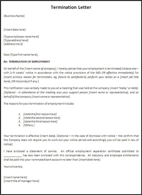 professional termination letter samples formats