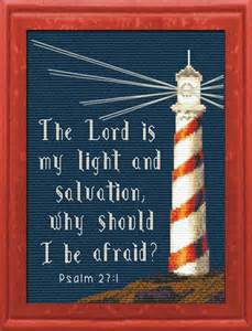 light strength psalm 27 1 cross stitch lighthouse