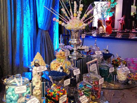 blue silver tables royal blue and gold candy buffet candy
