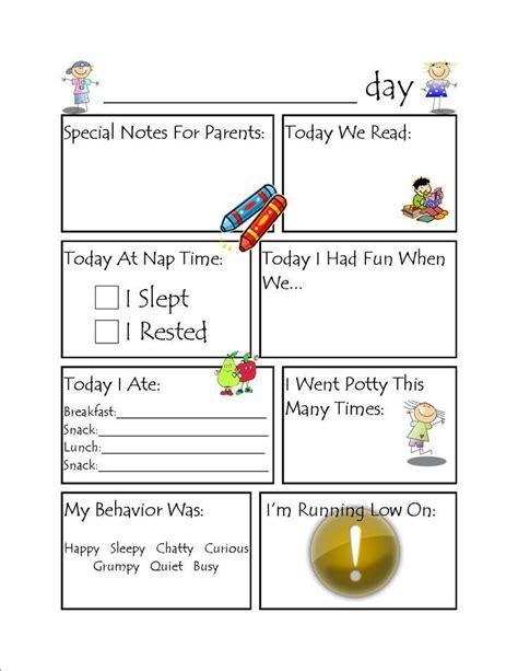 Preschool Daily Report Sheets