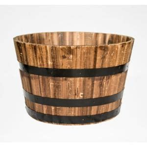 Real Wood 26 Quot Dia Cedar Half Whiskey Barrel Planter From Home Depot Whiskey Barrel Planters
