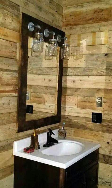 rustic barnwood mirror light mason jar vanity farmhouse style