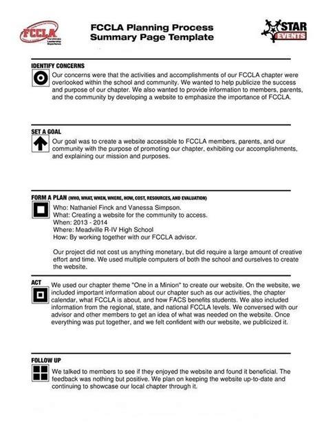 fccla planning process template fccla planning process template business template