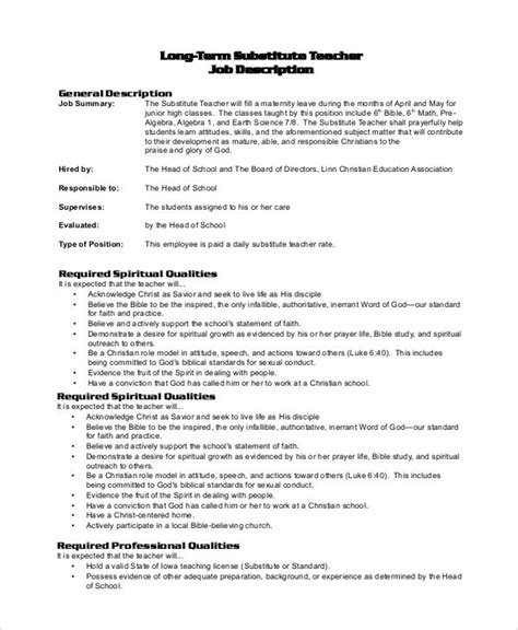 exle of job resume substitute resume exle 28 images substitute elementary