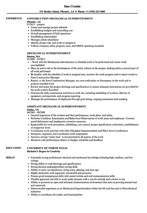 Mechanical Superintendent Sle Resume by What To Include In Your Resume Summary Resume Computer Skills Exles Proficiency
