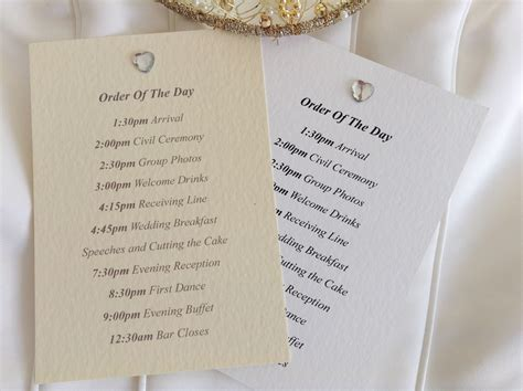 wedding invitation order diamante wedding order of day cards stationery
