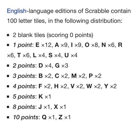 scrabble letters and points scrabble letter distribution levelings