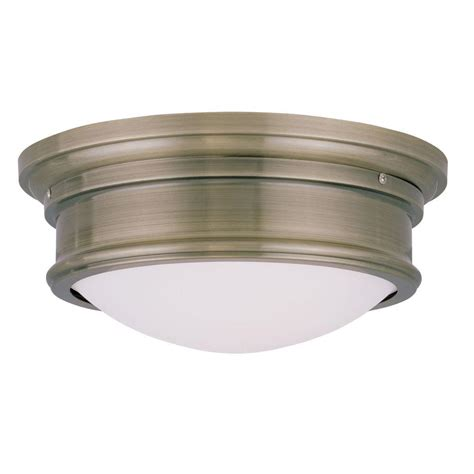 Livex Lighting Providence 2 Light Ceiling Antique Brass Antique Brass Flush Mount Ceiling Light