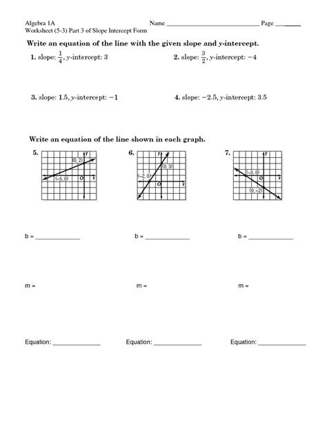Slope And Y Intercept Worksheet by 16 Best Images Of Slope Intercept Form Worksheets Slope
