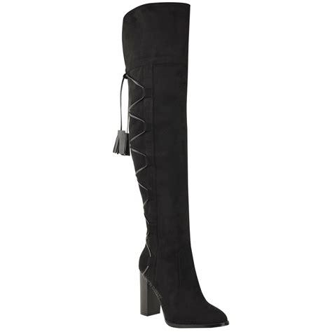 womens knee thigh high boots block heel