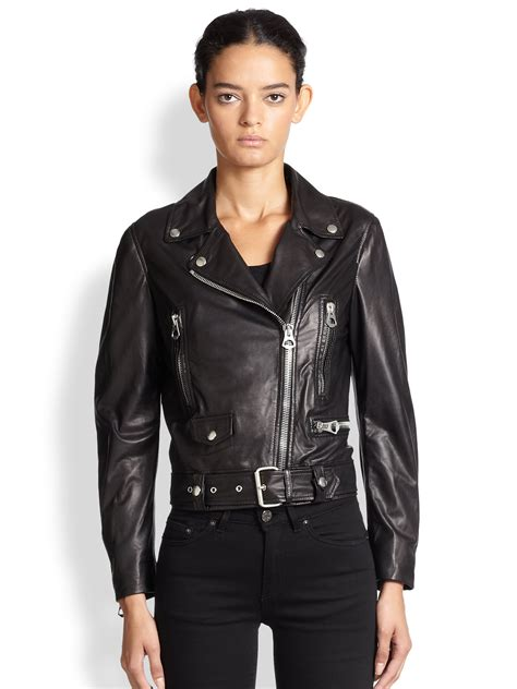 leather moto jacket lyst acne studios mock leather moto jacket in black