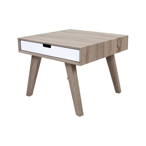 buy retro style wood and white veneer side table from