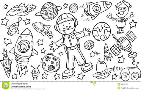 Outer Space Doodle Vectorset Stock Vector Image 49185771