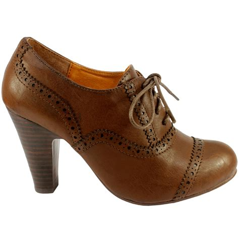 womens brogue high heel lace up ankle shoe boots 3 8 ebay