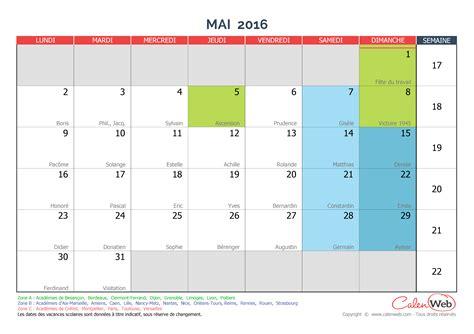 mai calendrier 2016 calendrier mensuel mois de mai 2016 avec f 234 tes jours