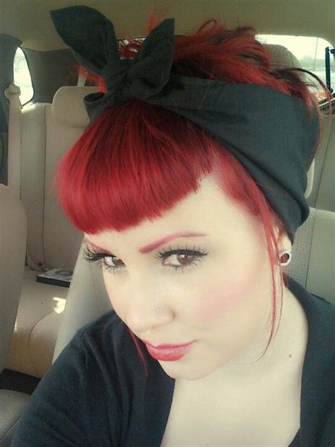 rockabilly hairstyles bangs love the shape of the bangs and the bandanna one of my