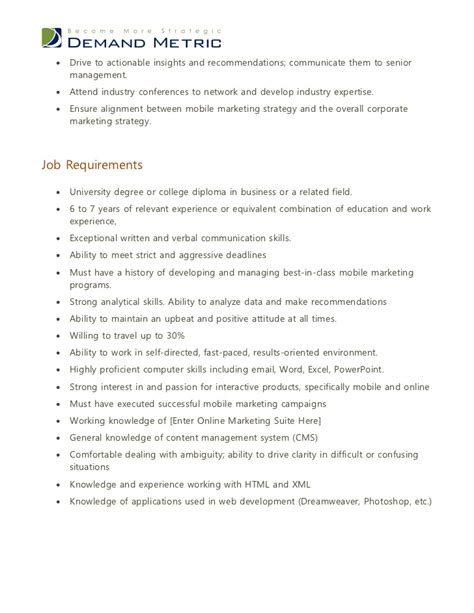 Marketing Coordinator Description Sles by Mobile Marketing Manager Description