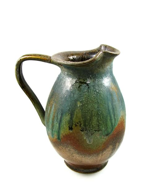 Handmade Clay - large copper green ceramic pitcher jug a quart