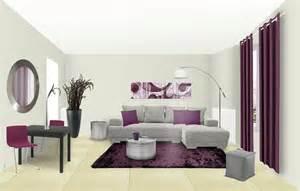 idee deco salon gris et prune deco moderne