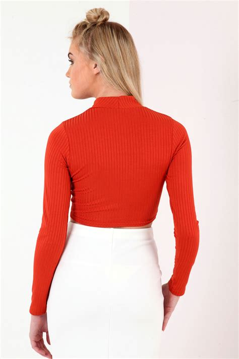 Turtle Neck Ribbed Top sleeve turtle neck ribbed crop top from premier glam