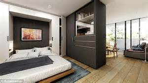 Wall Drop Design In Bedroom Australian Architects Create Convertible Apartments Featuring A Movable Wall Daily Mail