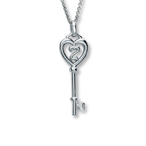 open hearts key necklace sterling silver