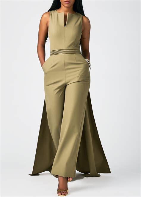 Jumpsuit V Pocket Zipper Terlengkap zipper back overlay embellished split neck pocket jumpsuit liligal usd 38 69