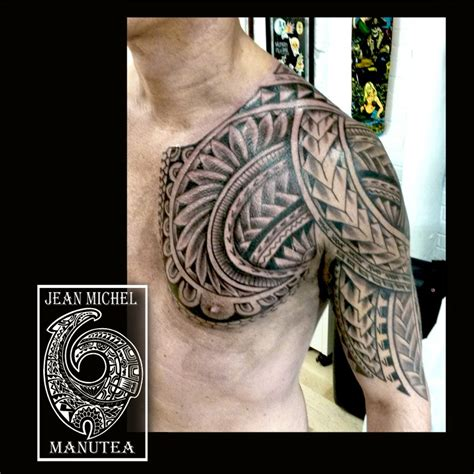 polynesian chest tattoo tatouage polynesien polynesian chest tribal polynesian