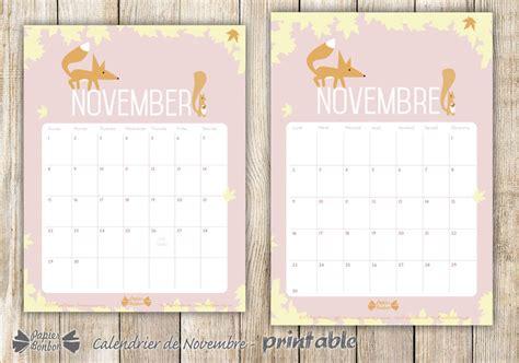 Calendrier 2018 Novembre Calendrier De Novembre Printable Papier Bonbon