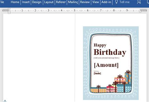 birthday gift certificate card template  word