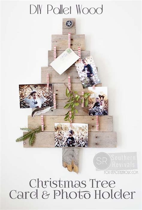 diy pallet wood christmas tree photo card holder