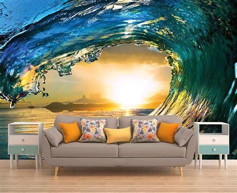 wave wall decal sunset wall mural peel  stick vinyl