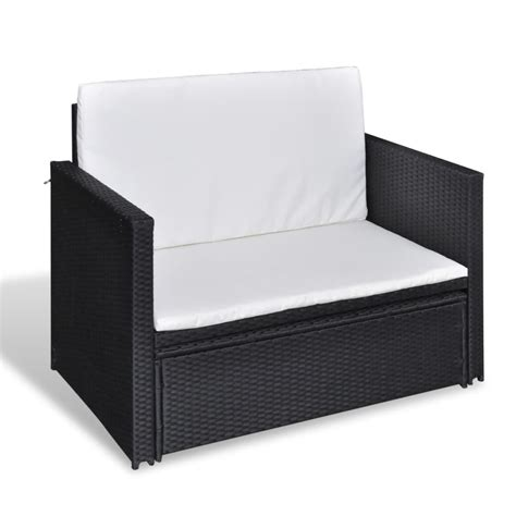 Folding Rattan Sofa Bed 3 In 1 Black Vidaxl Co Uk Rattan Sofa Beds