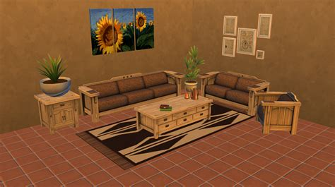 Mod The Sims The Sims 3 Mission Style Living Room Set Mission Style Living Room Set