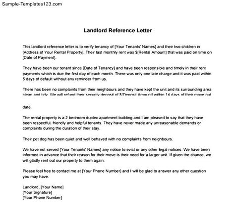 Landlord Reference Letter Pets Landlord Reference Letter Pdf Sle Templates