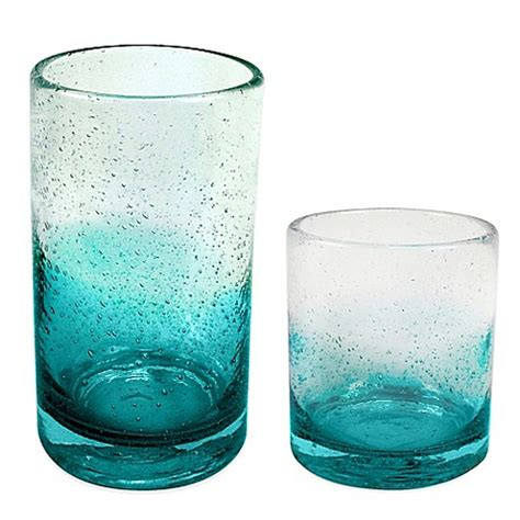 Bed Bath And Beyond Gift Registry Ombre Bubble Glass Drinkware In Teal Bed Bath Amp Beyond