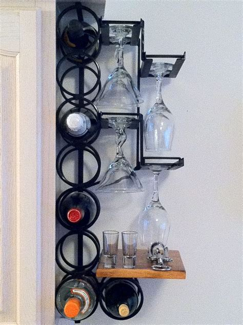 Wall Wine Rack Metal by Crafted 8 Bottle 8 Wine Glass Wrought Iron Wall