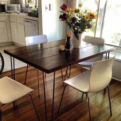 Hairpin Dining Table And Bench 4ft Modern Rustic Hairpin Leg Dining Table Contact J R