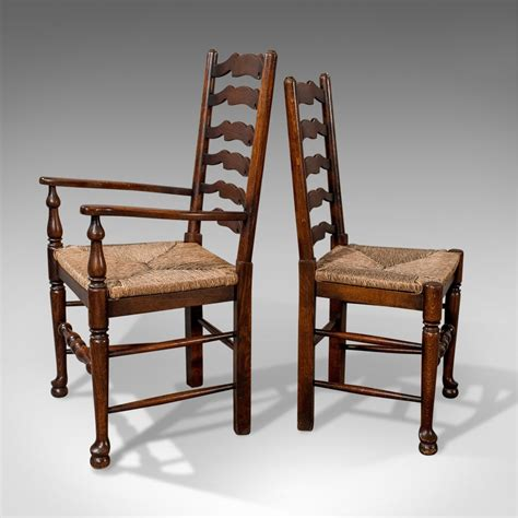 Six Dining Chairs Set Of Six Antique Oak Wavy Line Dining Chairs Antiques Atlas