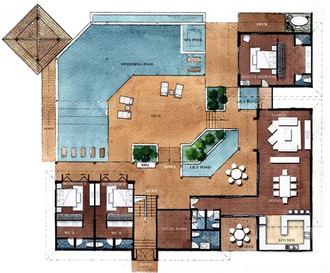 2 floor villa plan design resort style residential floor plans floor plans