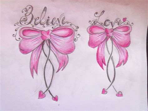 cute bow tattoo designs pink bow believe